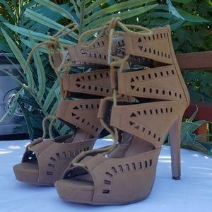 Tan Heeled Sandals Women size 6.5